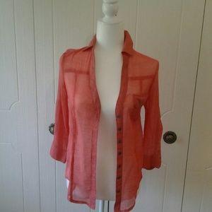 2B Bebe Coral 3/4 Sleeve Shirt Size XS